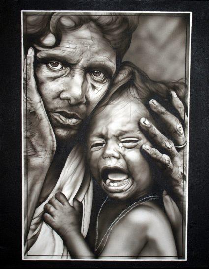 tableau-portrait-noir-blanc-indy-enfant-pleure-custom-aerographie (2)